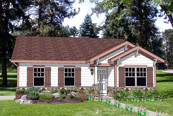 Craftsman, Narrow Lot, One-Story House Plan 94475 with 3 Beds, 2 Baths, 2 Car Garage Elevation