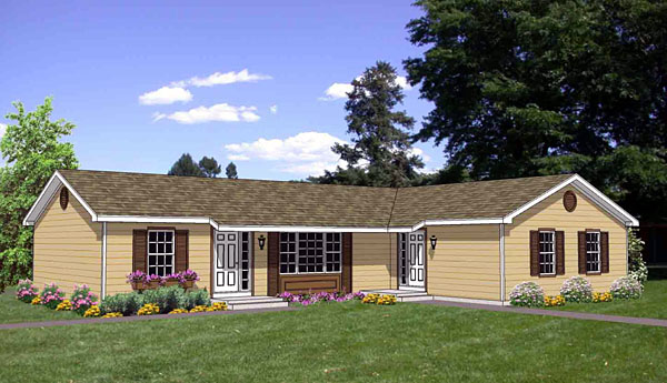 Traditional Multi-Family Plan 94477 with 4 Beds, 2 Baths Front Elevation