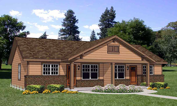 Traditional Multi-Family Plan 94480 with 4 Beds, 2 Baths Front Elevation