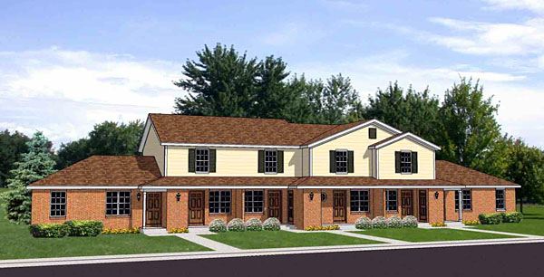 Traditional Multi-Family Plan 94484 Elevation