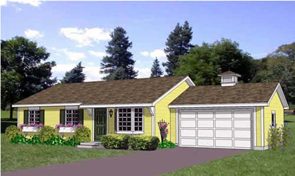 Ranch House Plan 94486 with 3 Beds, 2 Baths, 2 Car Garage Elevation