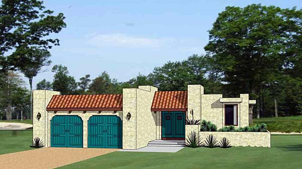 Santa Fe, Southwest House Plan 94488 with 3 Beds, 3 Baths, 2 Car Garage Front Elevation