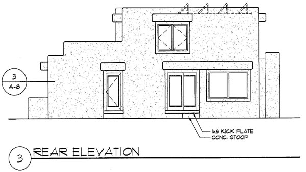 Santa Fe Southwest House Plan 94489 Rear Elevation