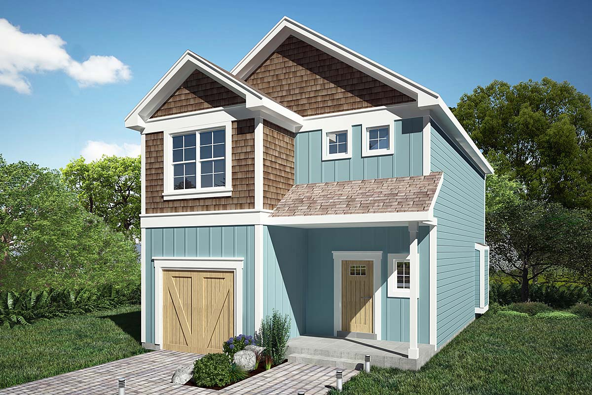 Coastal, Craftsman House Plan 94500 with 3 Beds, 3 Baths, 1 Car Garage Elevation