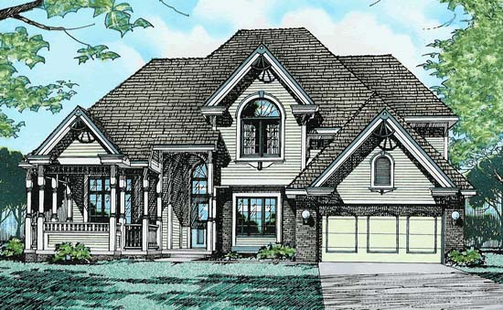 Colonial, European House Plan 94900 with 4 Beds, 3 Baths, 2 Car Garage Elevation