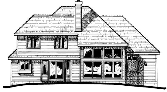 Colonial, European House Plan 94900 with 4 Beds, 3 Baths, 2 Car Garage Rear Elevation
