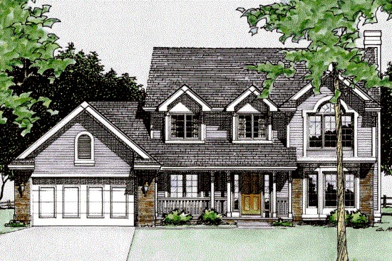 Country House Plan 94904 with 3 Beds, 3 Baths, 2 Car Garage Elevation
