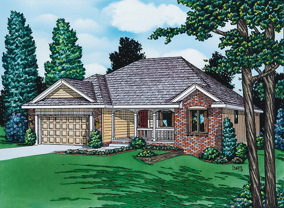 European House Plan 94914 with 3 Beds, 2 Baths, 2 Car Garage Picture 1