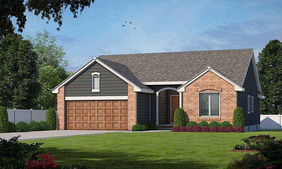House Plan 94916 | Ranch Style House Plan with 1392 Sq Ft, 3 Bed, 2 Bath, 2 Car Garage Elevation