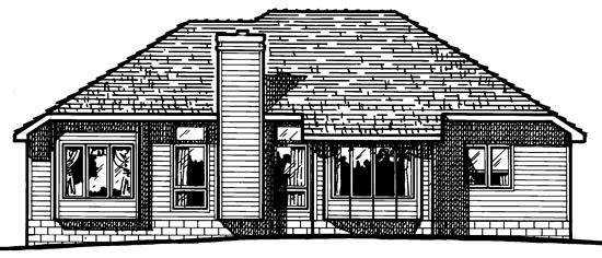 European House Plan 94922 Rear Elevation