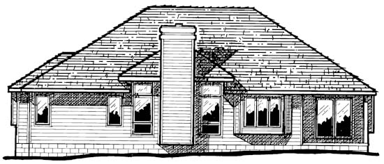 European Rear Elevation of Plan 94923