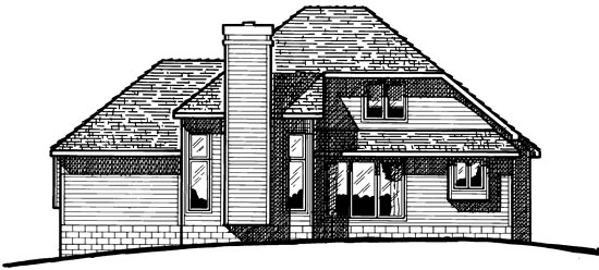 Country , European , Rear Elevation of Plan 94924