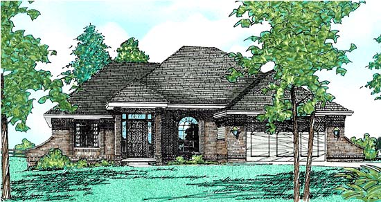 European House Plan 94925 with 3 Beds, 2 Baths, 2 Car Garage Elevation