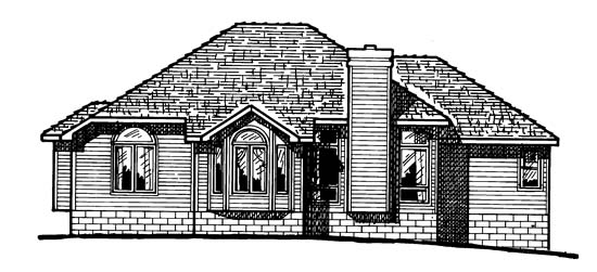 European House Plan 94925 with 3 Beds, 2 Baths, 2 Car Garage Rear Elevation