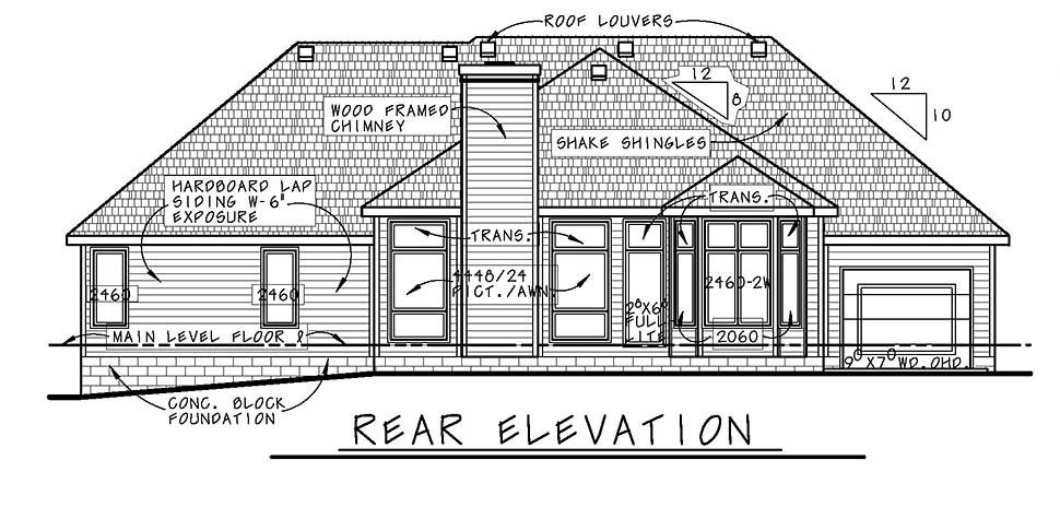 European House Plan 94926 Rear Elevation