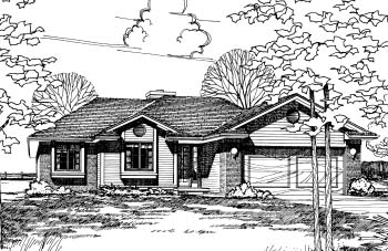 Ranch House Plan 94927 with 3 Beds, 2 Baths, 2 Car Garage Elevation
