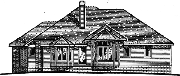 European House Plan 94928 Rear Elevation