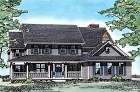 Country , Farmhouse House Plan 94932 with 4 Beds, 3 Baths, 2 Car Garage Elevation