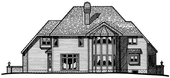European , Tudor , Rear Elevation of Plan 94937