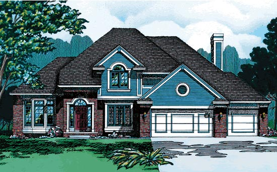 House Plan 94940 | European Style House Plan with 2480 Sq Ft, 4 Bed, 3 Bath, 3 Car Garage Elevation