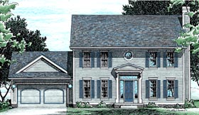 Southern , Country , Colonial House Plan 94944 with 4 Beds, 3 Baths, 2 Car Garage Elevation