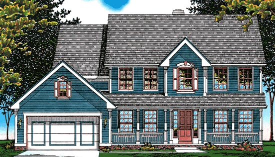 Colonial Country Southern Elevation of Plan 94946