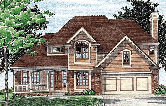 Colonial , European House Plan 94947 with 4 Beds, 3 Baths, 2 Car Garage Elevation