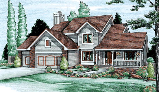 House Plan 94954 | Country Style Plan with 2498 Sq Ft, 4 Bedrooms, 3 Bathrooms, 3 Car Garage Elevation