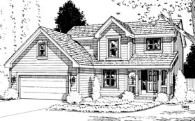 House Plan 94961 | Country Style Plan with 1705 Sq Ft, 3 Bedrooms, 3 Bathrooms, 2 Car Garage Elevation