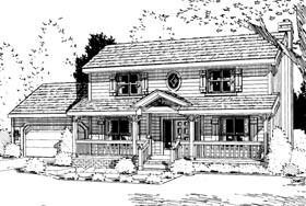 Country House Plan 94962 with 4 Beds, 3 Baths, 2 Car Garage Elevation