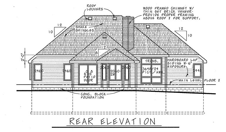 European House Plan 94966 Rear Elevation