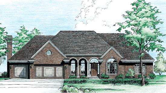 European House Plan 94968 Elevation