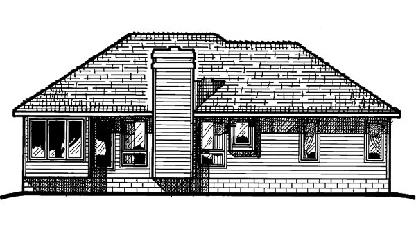 Ranch House Plan 94974 with 3 Beds, 2 Baths, 2 Car Garage Rear Elevation
