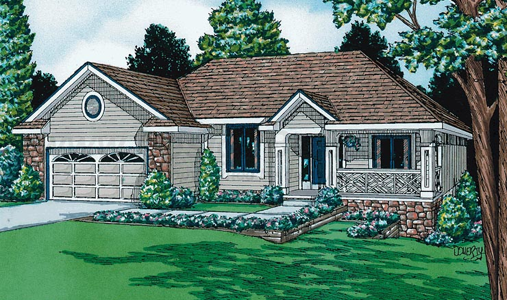 House Plan 94976 | Bungalow Style House Plan with 1691 Sq Ft, 3 Bed, 2 Bath, 2 Car Garage Elevation