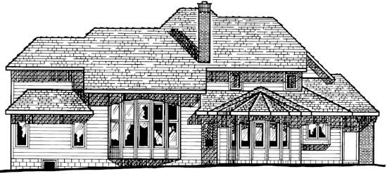 European House Plan 94990 Rear Elevation