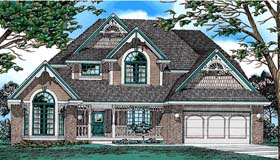 European , Victorian House Plan 94992 with 4 Beds, 3 Baths, 2 Car Garage Elevation