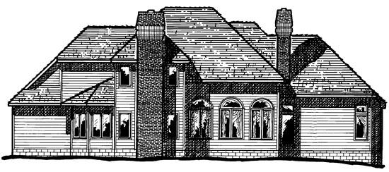 European House Plan 94995 Rear Elevation