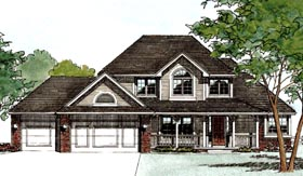 House Plan 94996 | Country European Style Plan with 2115 Sq Ft, 4 Bedrooms, 3 Bathrooms, 3 Car Garage Elevation