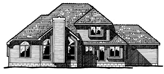 House Plan 94996 | Country European Style Plan with 2115 Sq Ft, 4 Bedrooms, 3 Bathrooms, 3 Car Garage Rear Elevation
