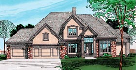 European House Plan 94997 with 4 Beds, 3 Baths, 3 Car Garage Elevation