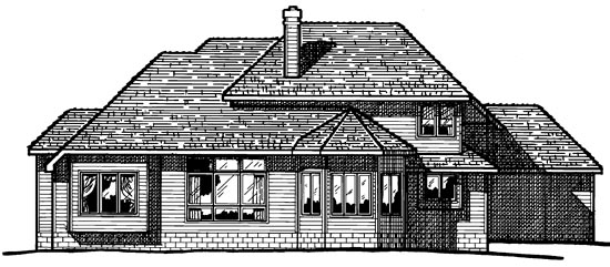 European Rear Elevation of Plan 94997