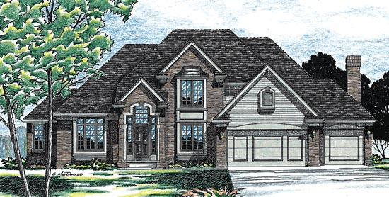House Plan 94998 | European Style Plan with 2486 Sq Ft, 4 Bedrooms, 3 Bathrooms, 3 Car Garage Elevation