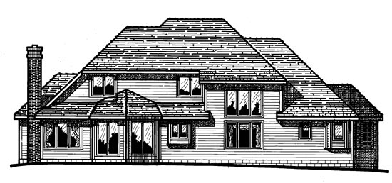 House Plan 94998 | European Style Plan with 2486 Sq Ft, 4 Bedrooms, 3 Bathrooms, 3 Car Garage Rear Elevation