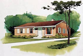 House Plan 95000 | Colonial Ranch Retro Style Plan with 1080 Sq Ft, 3 Bedrooms, 2 Bathrooms Elevation