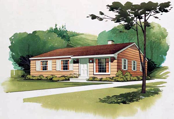 Colonial Ranch Retro House Plan 95000 Elevation