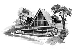 Retro , Contemporary , A-Frame House Plan 95004 with 2 Beds, 1 Baths Elevation