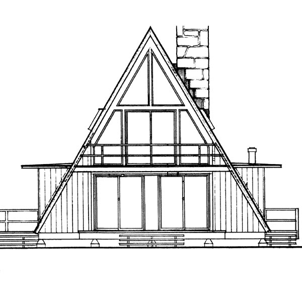 A-Frame Contemporary House Plan 95005 Rear Elevation