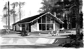 House Plan 95006 | Contemporary Style Plan with 1554 Sq Ft, 3 Bedrooms, 1 Bathrooms Elevation