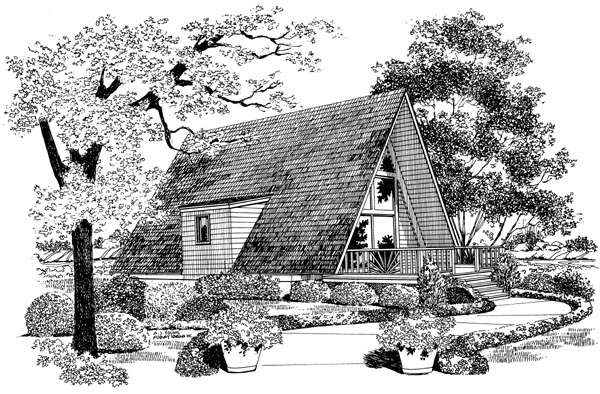 A-Frame, Contemporary, Retro House Plan 95007 with 1 Beds, 1 Baths Elevation