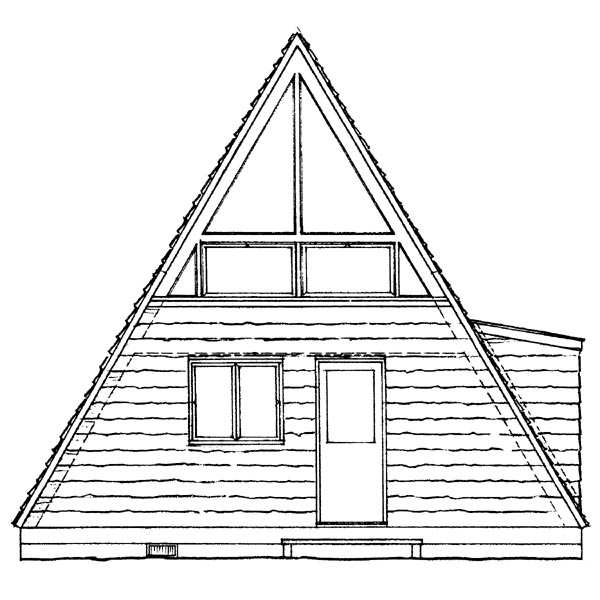 A-Frame Contemporary Retro House Plan 95007 Rear Elevation